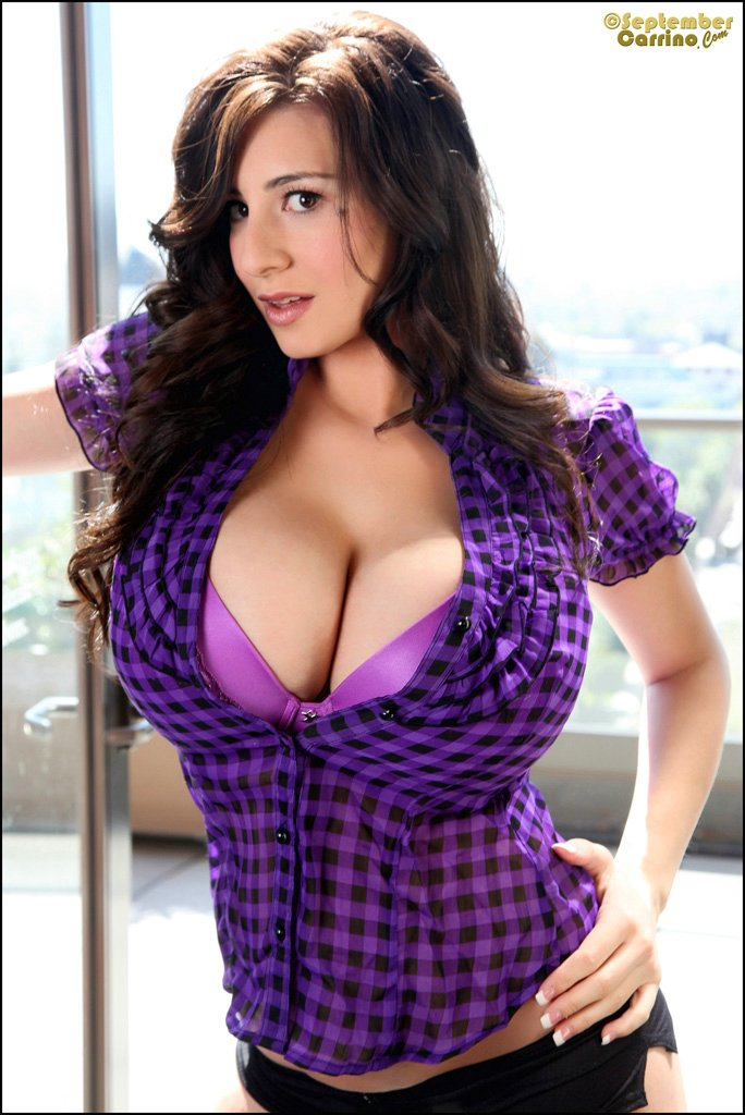 September Carrino purple HOOTER huge tits